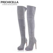 PRICHICELLA 14 см стилет высокий каблук Серый Замша Платформа бедра высокие сапоги для верховой езды выше колена пинетки size34-42