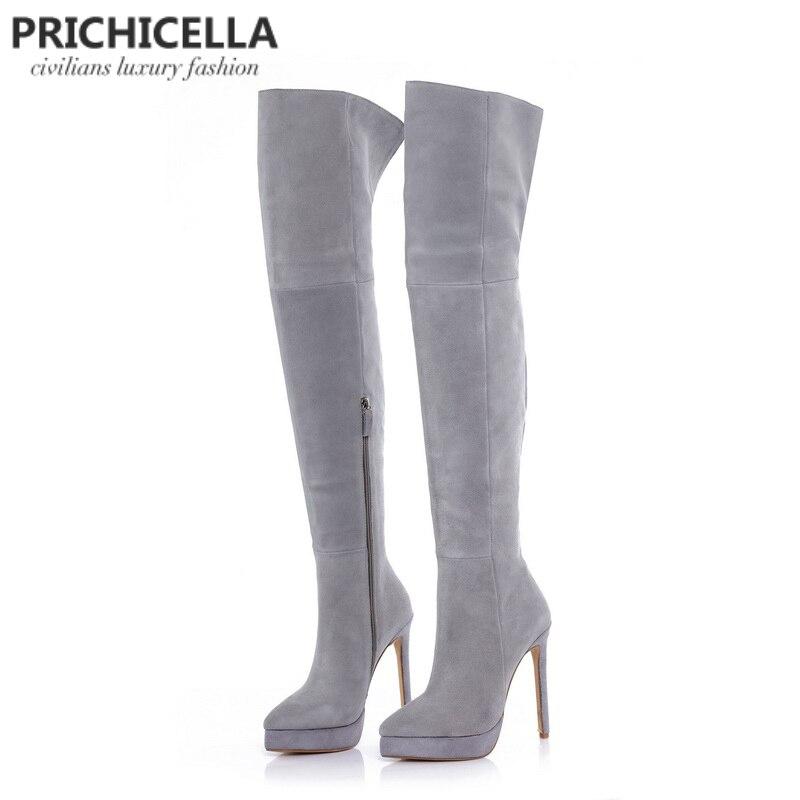 Prichicella 14 см шпильках Высокий каблук серые замшевые на платформе облегающие сапоги для верховой езды выше колена пинетки size34-42