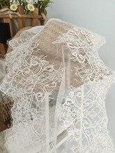 3 Yards Chantilly Frehcn Alencon Lace Fabric, Bridal Wedding Eyelash French Fabric
