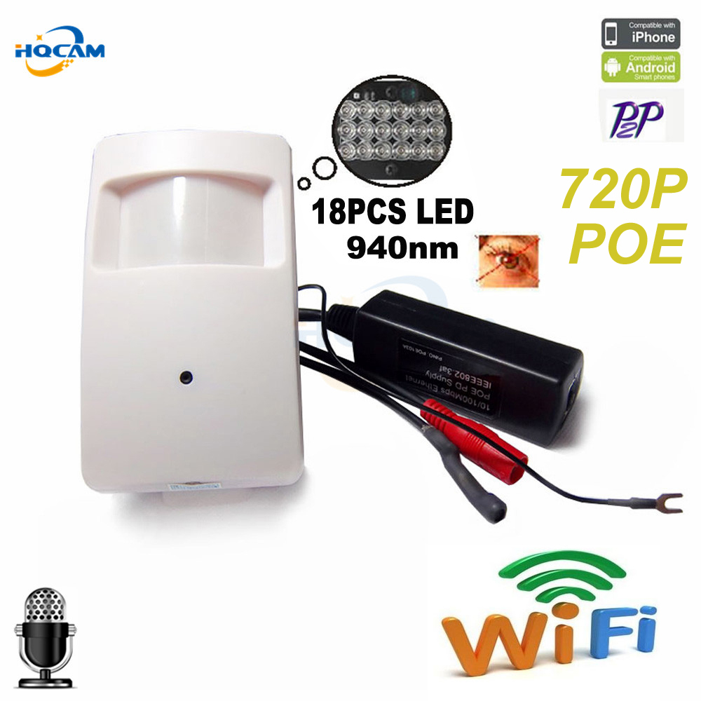 HQCAM 720P poe ip camera wifi 940nm infrared ip camera IR POE PIR Style Motion Detector ONVIF IR Night Vision P2P Plug and Play hqcam 1080p poe pir style motion detector wifi camera onvif 48pcs 940nm ir cut night vision p2p mini wifi poe ip camera page 2