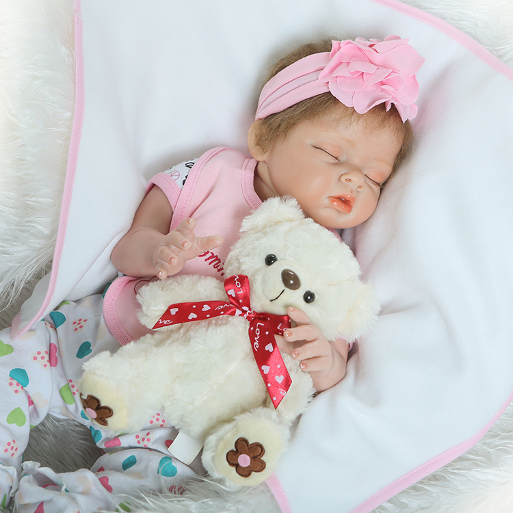 55cm Silicone Reborn Baby Doll Toy Lifelike Lovely Newborn Sleeping Girl Babies Princess Doll Girls Brinquedos Birthday Gift