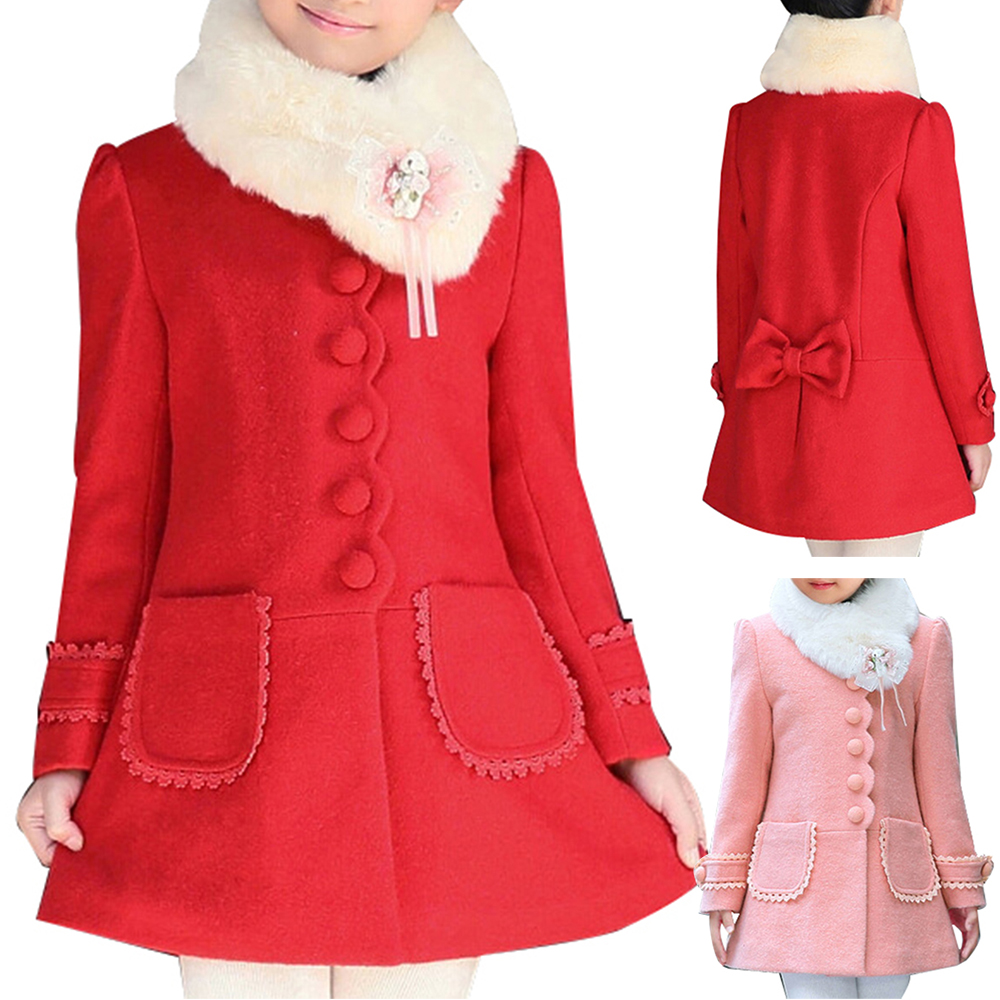 High Quality Girl Child Kid Buttons Faux Fur Collar Outwear Pea Coat недорго, оригинальная цена