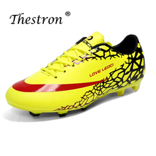 Hot Sale Soccer Shoes Boys yellow Orange Football Shoes Women Non-Slip Sneakers Sport Children Long Spike Outdoor Sneakers soccer shoes children boy girl new hot sale rubber soccer outdoor sport athletics breathable comfortable children shoes