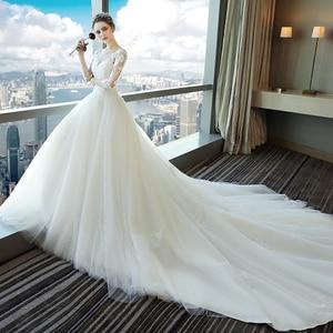 Image 3 - Fansmile Vestido largo De novia con tren, vestidos De encaje De novia, manga, hecho a medida, De talla grande, tul, FSM 540T De boda, 2020