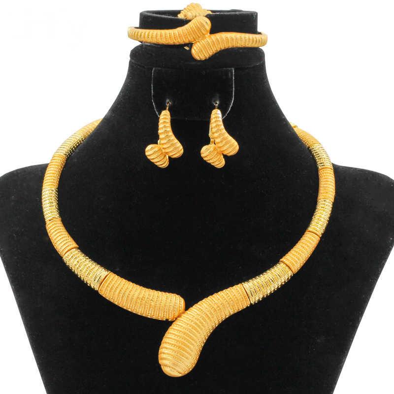 Neue Mode Frauen 24 Gold Schmuck Sets Einfache Design Halskette Ring Ohrringe Marokko Braut Hochzeit Party Geschenk Schmuck