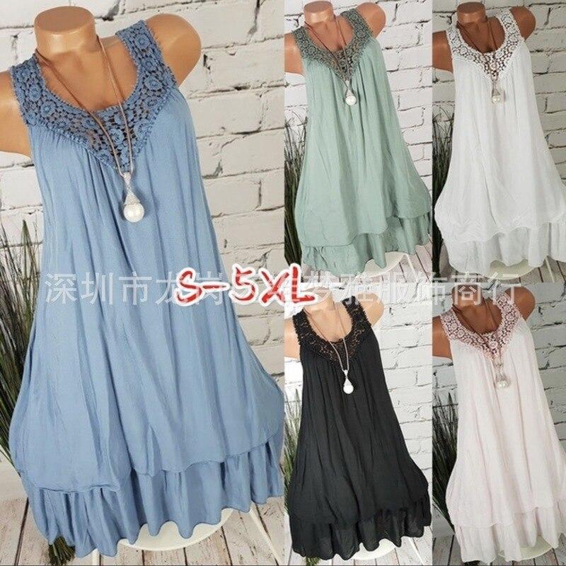 Large size Women's Dress 2019 hot sexy back openwork lace dress stitching sleeveless long dresses 5XL