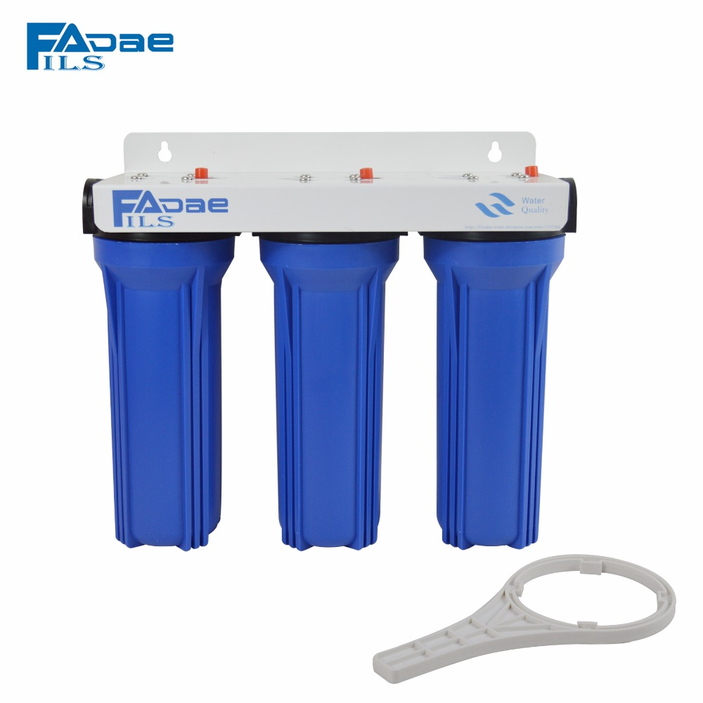 Three Stage Filtration System Blue 3/4 Brass insert Water Filter Whole House 2.5in x 10in ( 10 PP 5UM+10 CTO+10 PP 1UM) em 307s 7 8 filter drier providing filtration in refrigeration system and hvac products