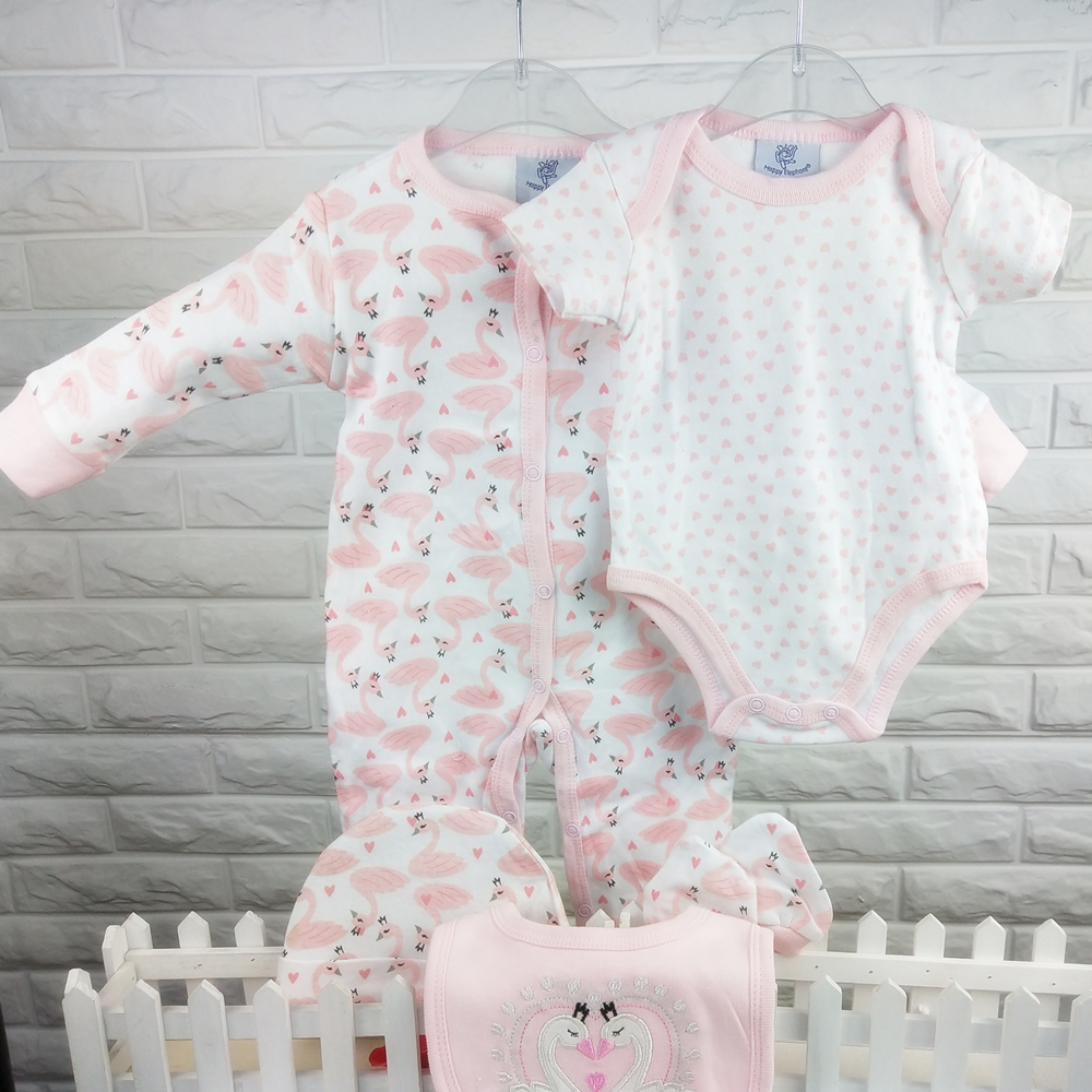 Spring Autumn 5pcs new born girl baby clothes infant 100%cotton baby   romper   set