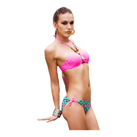 2014 New European And American Retro Polka Dot Rose High Waist Bikini Swimsuit