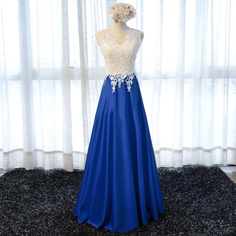 Довгі мереживні вечірні сукні вечірки 2017 жінок атласні королівський синій лінії випускного вечора сукні плаття носити abendkleider