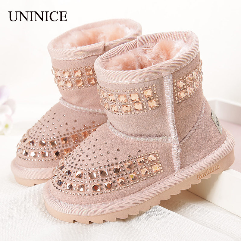 2017 Winter New Fashion Children Snow Boots Reihnstone Kids Leather Boots Warm Shoes With Fur Princess Baby Girls Ankle Boots