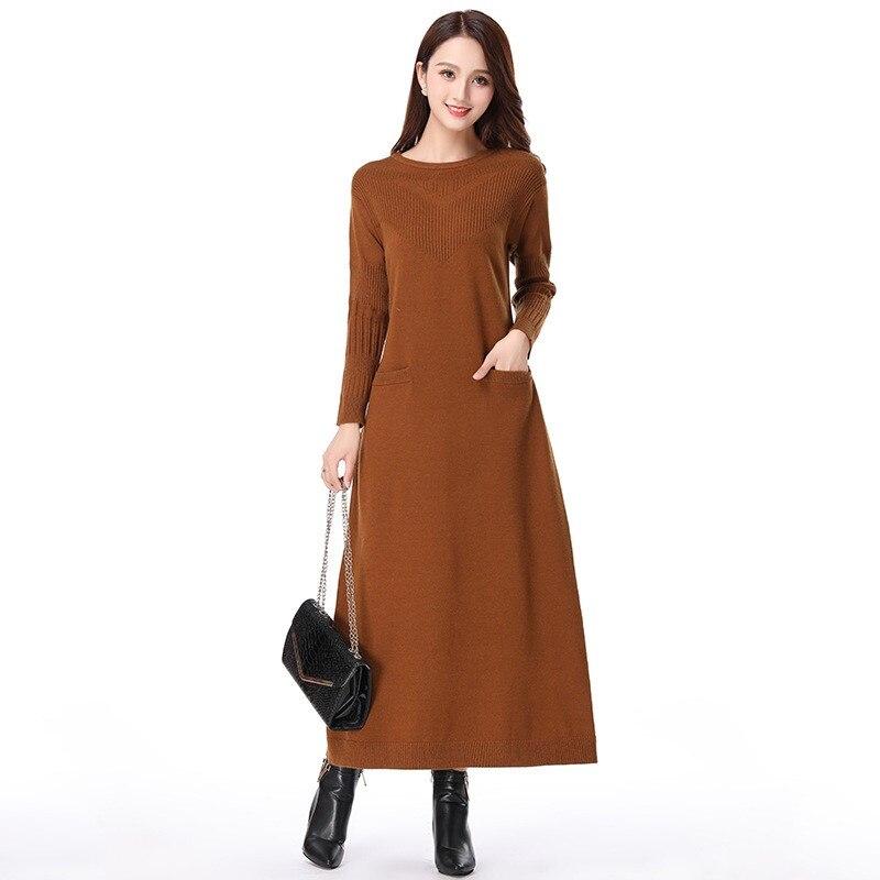 completamente elegante precio asombroso super barato se compara con € 58.84 50% de DESCUENTO|Vestidos de punto Mujer 2019 Otoño Invierno moda  suéteres de talla grande vestidos largos sueltos mujeres elegantes vestidos  ...