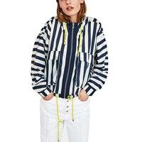 Thin Short Sunscreen Coat Hot Sale Autumn women Coat Hooded Women's Jacket Large Size Spliced Stripced Long Sleeve Loose Jackets