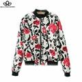 2015 outono inverno preto vermelho floral impressão bombardeiro casaco jaqueta com zíper