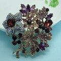 Marca de luxo Violetta Broche Roxo Mulheres Festa Joias Colar Moda Rhinestone Broches Pinos Hijab Pins Broches de Flor Do Vintage