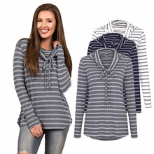 New European and American fashion hot striped casual navy blue collar bow personality long-sleeved womens t-shirt