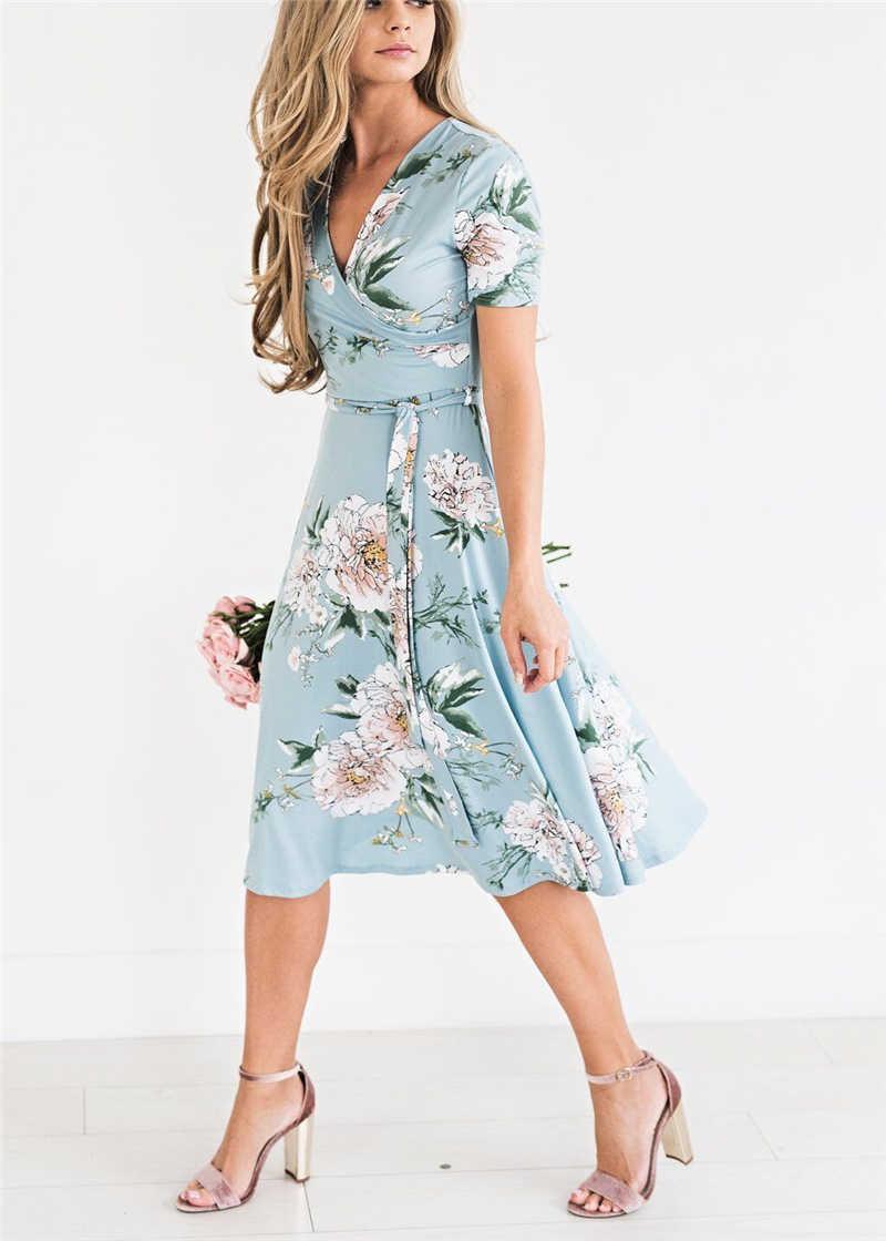 5ffeeec7e9e С цветочным принтом Для женщин летнее платье новый шикарный женский с  v-образным вырезом модное