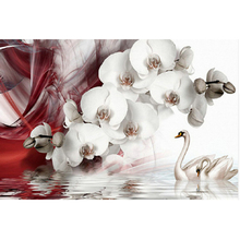 Diamond Embroidery, 5D Diamond, Swan, White Orchid, Cross Stitch, Mosaic, Pattern, Living Room Stickers