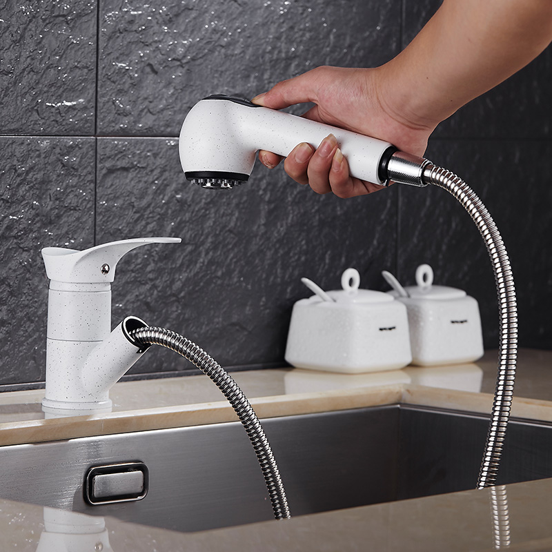 granite sink, faucet, dish basin, copper casting can be drawn hot and cold quartz sand blasting water faucet, white