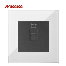 MVAVA RJ45 Computer Jack Plug Port Wall Decorative Socket PC LAN Data Receptale Luxucy White Crystal Glass Panel Free Shipping