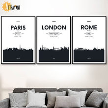 London Paris Dubai Rome Nordic Poster And Prints Wall Art Canvas Painting Black White Wall Picture For Living Room Bedroom Decor(China)