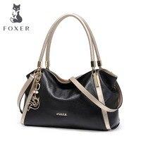 FOXER бренд дизайн женская мягкая пояса из натуральной кожи сумки Высокое качество женский коровьей большой размеры сумка модная