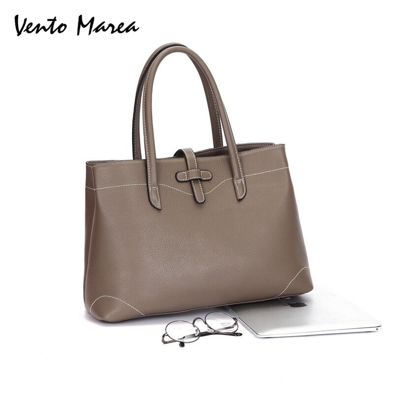 Original Vento Marea Real Leather Laptop Totes Solid Color Soft OL Ladies Business Handbags Large Capacity Shoulder Bag BlackOriginal Vento Marea Real Leather Laptop Totes Solid Color Soft OL Ladies Business Handbags Large Capacity Shoulder Bag Black