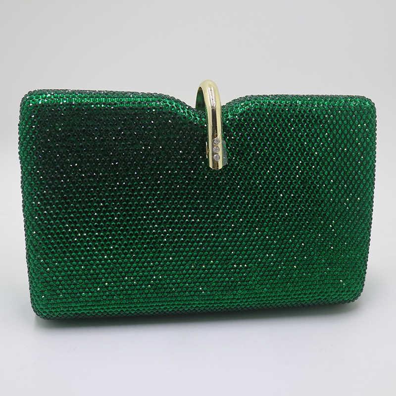 Королевский ночной жесткий клатч с кристаллами, вечерние сумки и сумки для женщин, для вечеринки, выпускного вечера, изумрудный, темно-зеленый
