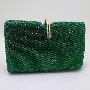 Image 3 - רויאל Nightingales קשה תיבת מצמד גביש ערב תיקי נשים המפלגה לנשף אמרלד כהה ירוק