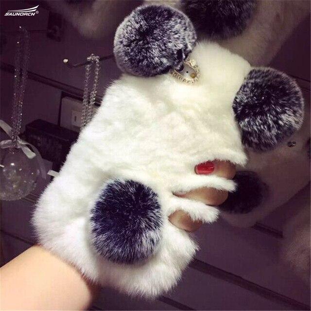 For iPhone X 8 7 6 5 4 Plus Luxury Top Rabbit Fur Panda Bear Ear Tail Fur Ball Plush Furry Case For Samsung S8 Plus S7 S6 Note 8