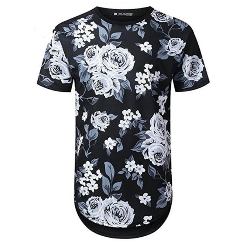 Mens Hipster Hip Hop Floral Printed Longline T shirt 2018 Summer Short Sleeve Extra Long Tee Shirt Casual Brand Tshirt PZ71