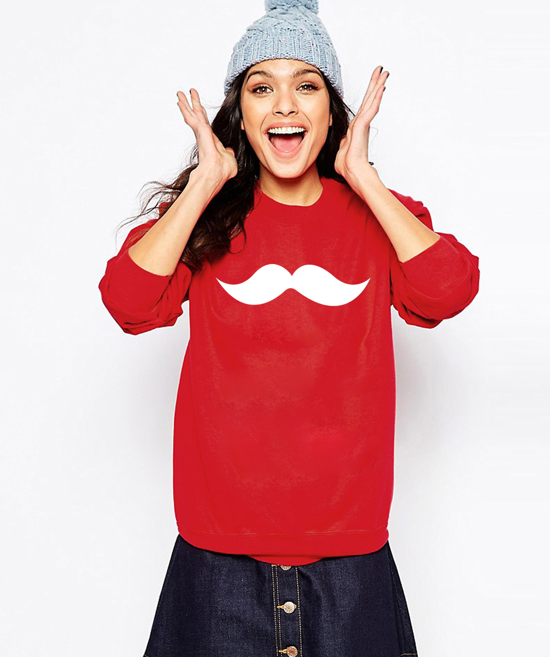 Moustache Print Sweatshirts  4