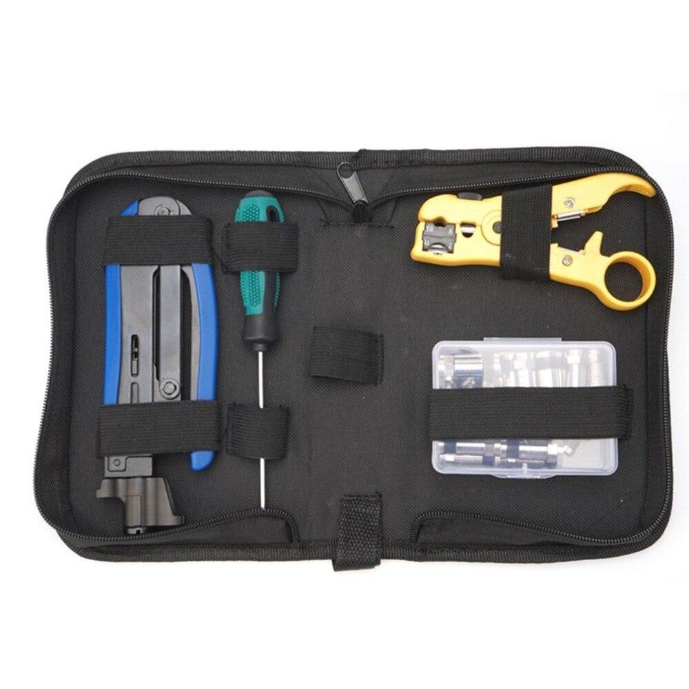 Kit d'outils réseau multi-fonction LAN outils d'installation réseau testeur de câble pince à sertir ensemble de sac à outils