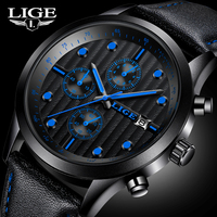 2017 Mens Watch New Brand Luxury LIGE Watch Men Military Sport Wristwatch Chronograph Leather Quartz Watch