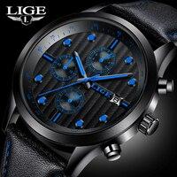 2017 Mens Watch New Brand Luxury LIGE Watch Men Military Sport Wristwatch Chronograph Leather Quartz Watch