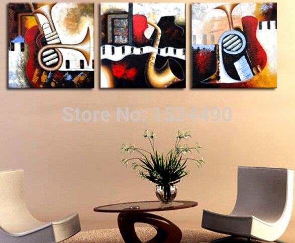 Livraison gratuite 3 pièce/ensemble Art de haute qualité abstraite peintures Instruments de musique abstraite toile Art peintures panneau Art mur décor