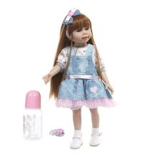45cm Reborn Doll Realistic Full Silicone Newborn Baby Toy Long Hair Princess Clothes Pacifier Lifelike Girl Handmade Gifts free shipping new compatible projector lamp 78 6969 9946 1 for 3m wx20 projectors
