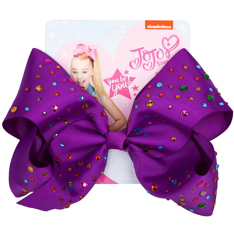 New 8 Inch JOJO SIWA Large Hair Bow Rainbow Colorful Hot drilling Hairclip Girls