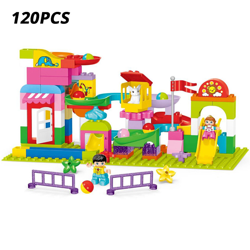 120pcs Marble Race Run Maze Ball Track Building Blocks DIY Big Size Funnel Slide Blocks Animal Bricks Sets For Children Gifts in Blocks from Toys Hobbies
