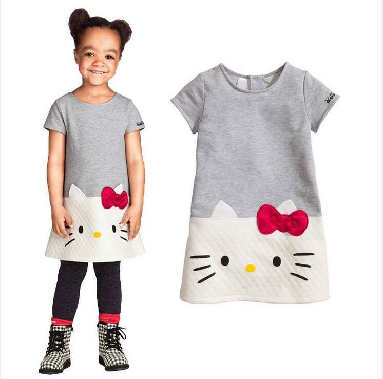 Baby Girls Dresses 2016 Brand Children Dress For Girls Clothes Hello Kitty Princess Dress Christmas Vetement Fille Kids Clothes