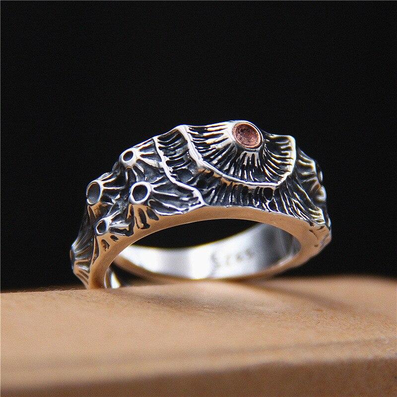 Вулкан Мужская серебра 925 кольцо античное серебро мужские ювелирные изделия манжеты Группа Прохладный личности Bijoux Новое поступление Бесп...