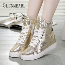 Women Sneakers Casual Shoes Flat Platform High Top Ankle Shoes Woman Height Increase Lace Up Gold Sliver Spring Female Flats DE