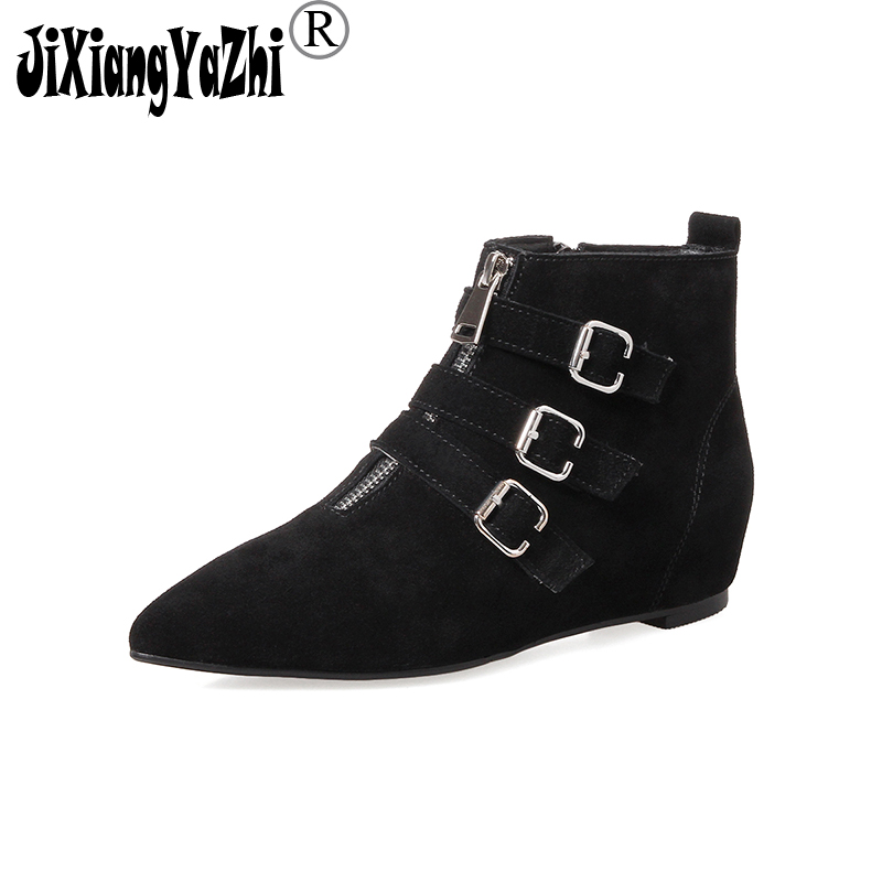 JIXIANGYAZHI Brand 2018 Fashion Cow Suede Zip Pointed-toe Low Buckle Strap Ankle Work-safety Womens Shoes # A-067