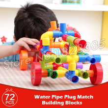 72pcs Pipe Plug Match interlocking tubes Model Tunnel plastic assemble colorful Building Blocks Tubation Learning Bricks Toys(China)