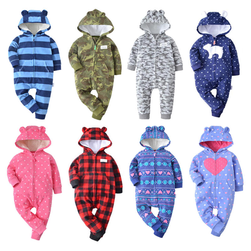 2019 winter bebes clothes girls romper infants pajamas fleece baby jumpsuit hooded baby fox clothing toddler boys warm clothes