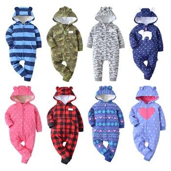 9ebec6abe Invierno de 2018 bebes Niñas Ropa mameluco bebés pijamas de lana de bebé  mono con capucha Bebé Ropa niño niños ropa de abrigo