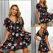 Summer Fashion Women Dresses Hallow Short Sleeve Floral Print Female Frock Dress