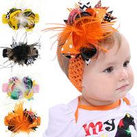 Naturalwell Halloween Gift Baby Flower Headband Girl Infant Feather Hairband Children Hair Accessories Elasticity 4pcs HB193S