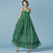 Bohemian Vintage Women dress Print Chiffon 7156 Super Long Large Pendulum Sweep Floor Dresses Green 8283