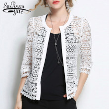 Plus Size 5XL Vrouwen Lace blouse shirt 2018 fashion wit Vest overhemd Zomer tops Sexy Hollow lace vrouwen kleding 883F 30(China)